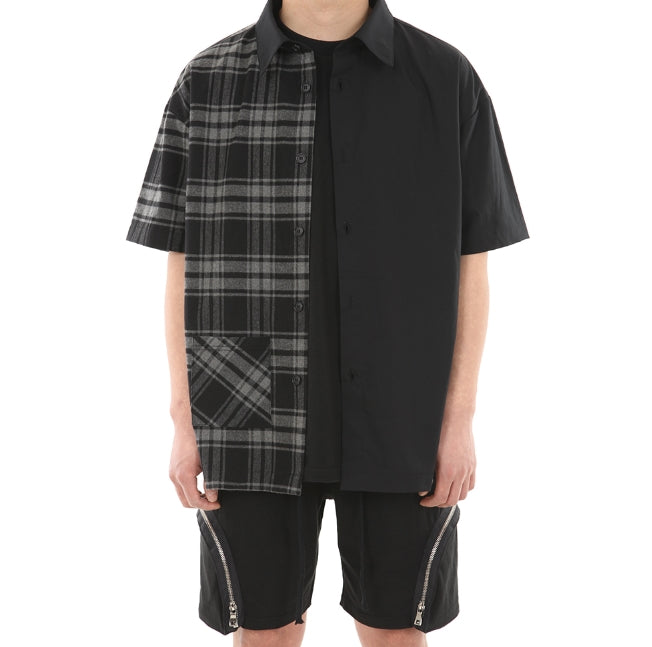 ランベルシオ(LANG VERSIO) 243 Unbalanced back zipper short sleeve shirt