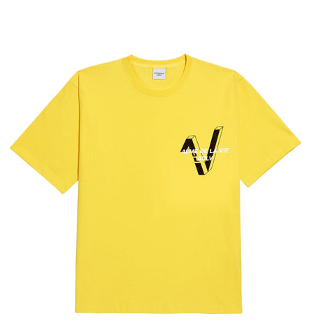 アクメドラビ(acme' de la vie) ADLV V SYMBOL LOGO SHORT SLEEVE T-SHIRT LIGHT YELLOW