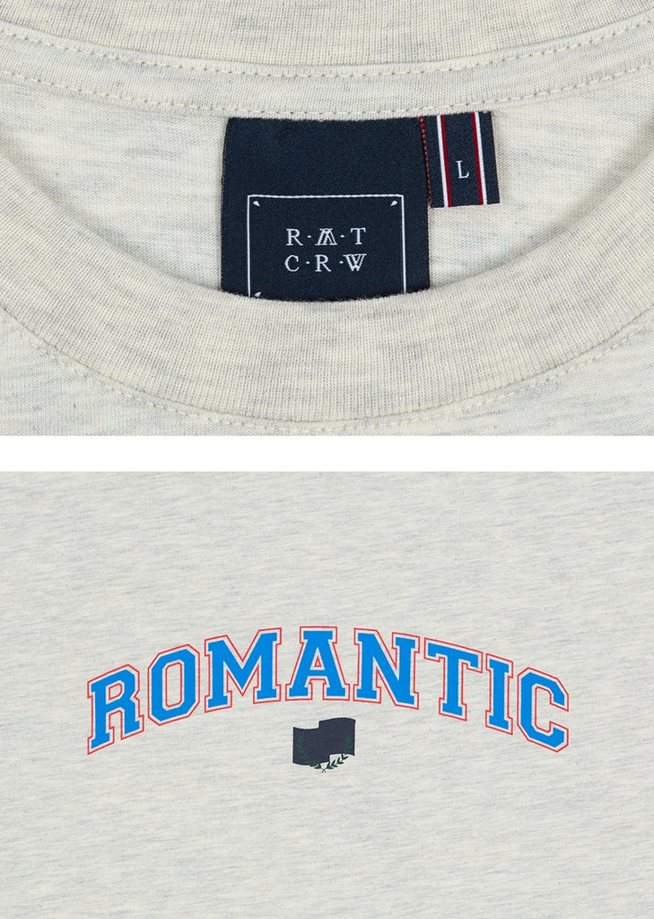 ロマンティッククラウン(ROMANTIC CROWN) ROMANTIC ARCH LOGO TEE_MELANGE IVORY