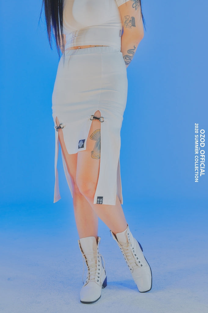 オージーオーディー(OZOD) SLIT SKIRT_WHITE