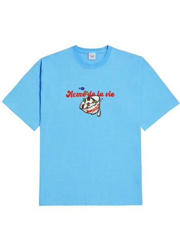 アクメドラビ(acme' de la vie) CEREALS LOGO SHORT SLEEVE T-SHIRT SKY BLUE
