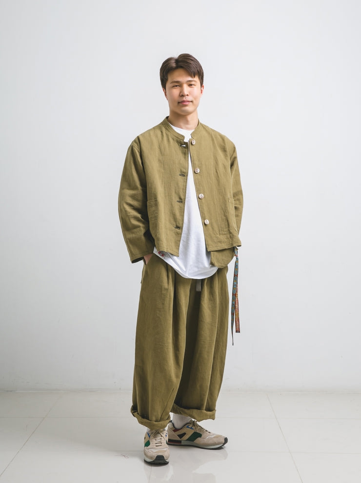 ANGLAN(アングラン) Linen Balloon Set-up - Khaki
