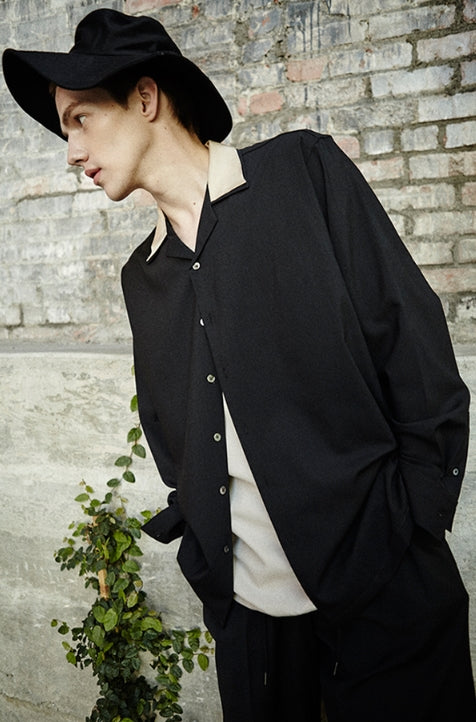 ORDINARY PEOPLE(オーディナリーピープル)  ORDINARY POINT COLLAR HAWAIIAN BLACK SHIRT