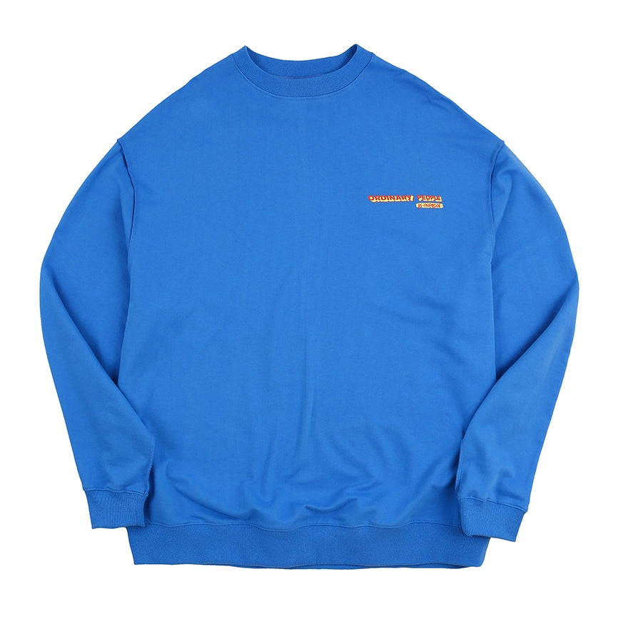 ORDINARY PEOPLE(オーディナリーピープル) vintage logo blue sweat shirt