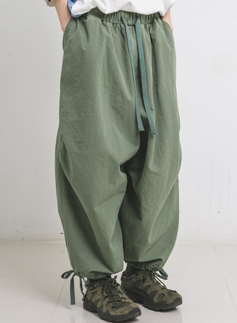 ANGLAN(アングラン) Rib Army Balloon Pants - Khaki