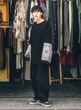 ANGLAN(アングラン) Paisley Color Block Long Sleeve - Black