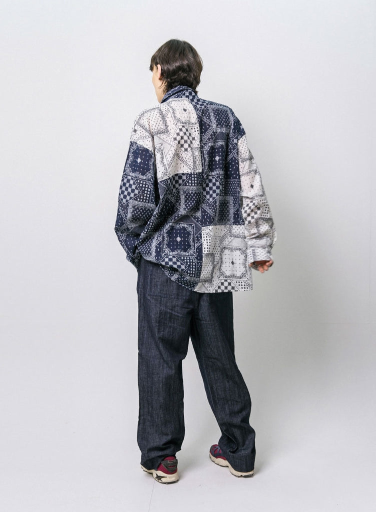 ANGLAN(アングラン) Paisley Patch Work Color Block Shirts - Navy
