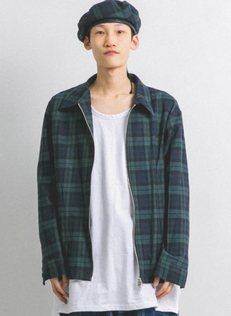 ANGLAN(アングラン) Tartan Double Zip Jacket