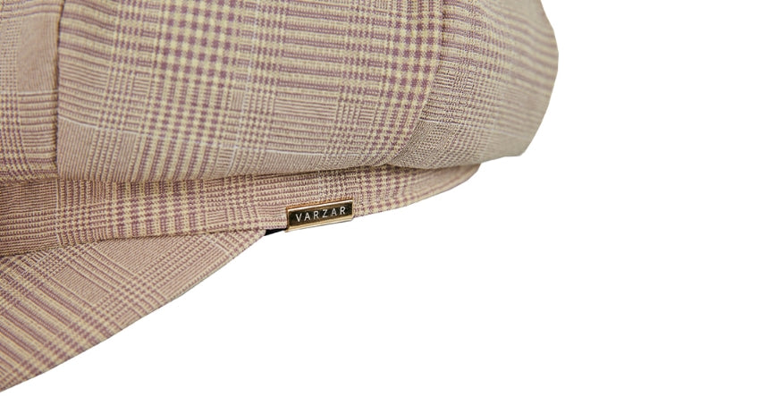 VARZAR(バザール) Metal Tip Check Newsboy Cap Beige