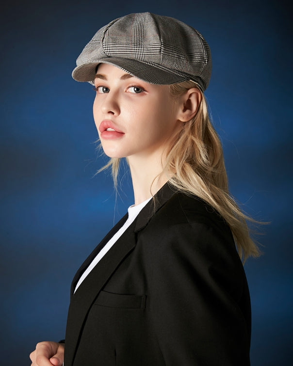VARZAR(バザール) Metal Tip Check Newsboy Cap grey
