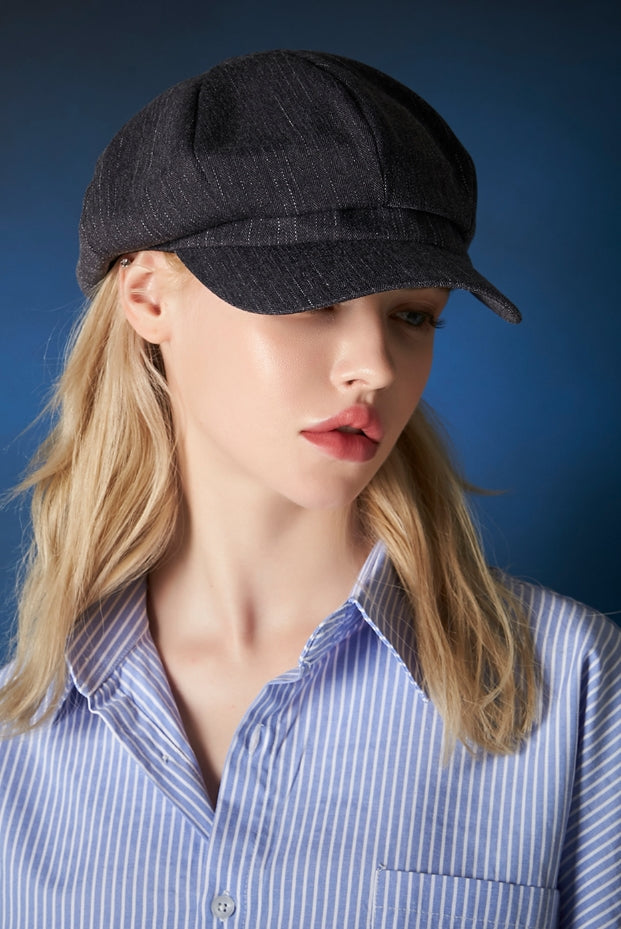 VARZAR(バザール) Metal tip herringbone newsboy cap navy
