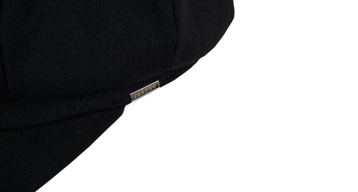 VARZAR(バザール) Metal tip herringbone newsboy cap black