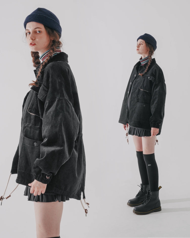 ダブルユーブイプロジェクト(WV PROJECT)  Cookie Dough Corduroy Fishtail Jacket Black CJOT7424