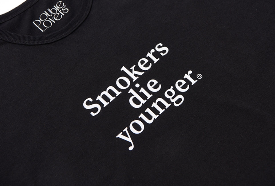 ダブルラバーズ(DOUBLE LOVERS)SMOKERS DIE YOUNGER T-SHIRT (Black/White)