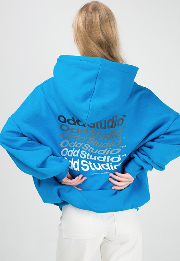 Odd Studio (オッドスタジオ) ODD STUDIO WAVE LOOSE FIT HOOD SHIRT - BLUE
