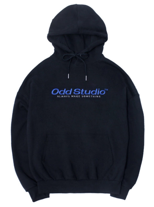 Odd Studio (オッドスタジオ) ODD STUDIO STANDARD LOGO LOOSE FIT HOOD SHIRT - BLACK