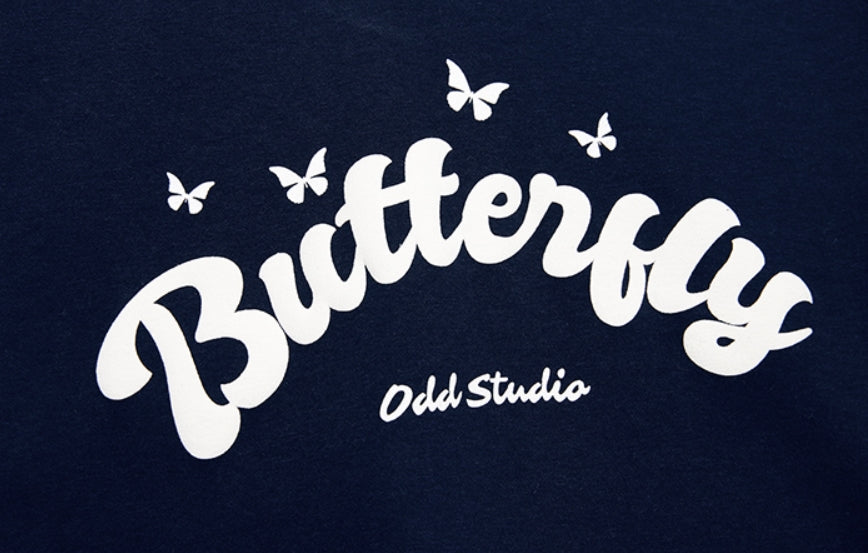Odd Studio (オッドスタジオ) BUTTERFLY BOLD LOOSE-FIT HOOD - NAVY