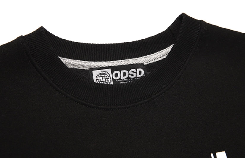 Odd Studio (オッドスタジオ) FACE LOOSE-FIT SEWAT SHIRTS - BLACK