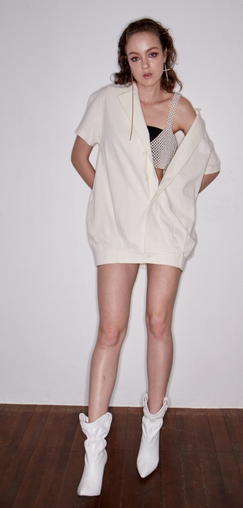 レイブレス(LABELESS)    UPSIDE DOWN PANTS DETAIL DRESS (IVORY/BLACK)