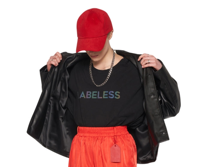 レイブレス(LABELESS)    Faux leather logo emboss jacket