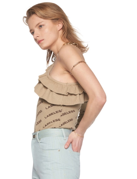 レイブレス(LABELESS)   One shoulder open ruffle bodysuit (Beige/Black/Grey)