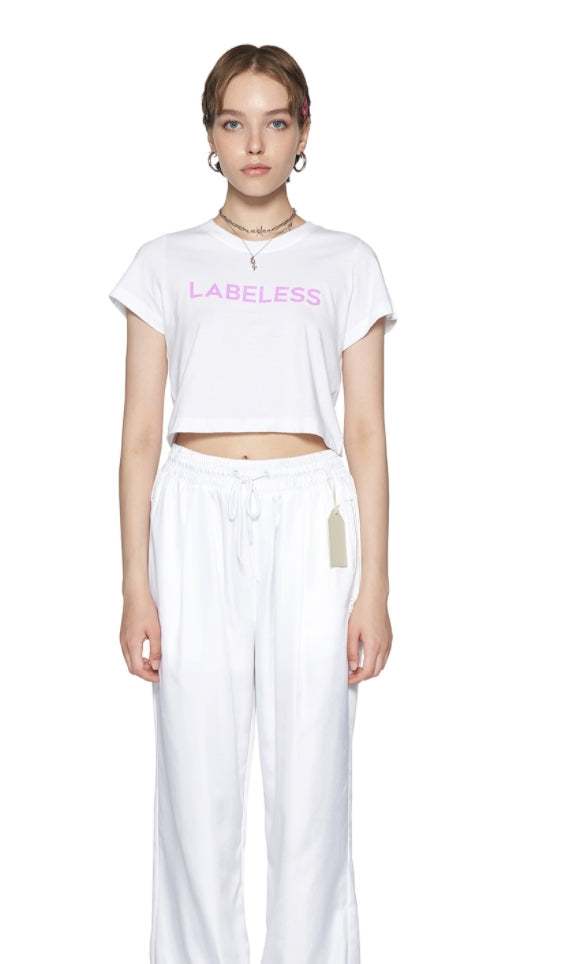レイブレス(LABELESS)   Pink glitter logo cropped t-shirt