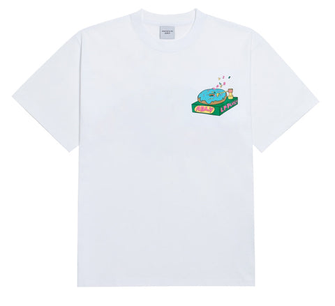 アクメドラビ(acme' de la vie) EMBO RECORD DONUT SHORT SLEEVE T-SHIRT WHITE