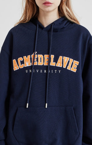 アクメドラビ(acme' de la vie)  ADLV TWO COLOR EMBROIDERY PATCH HOODIE NAVY