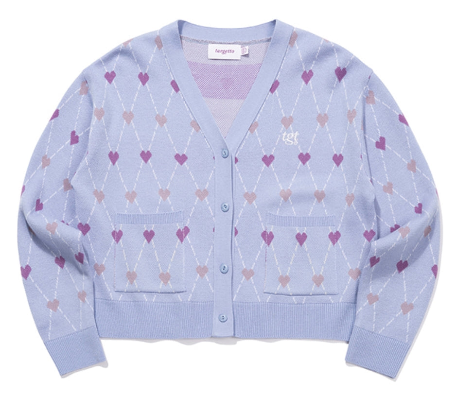 TARGETTO(ターゲット)  HEART ARGYLE JACQUARD CARDIGAN_LIGHT BLUE