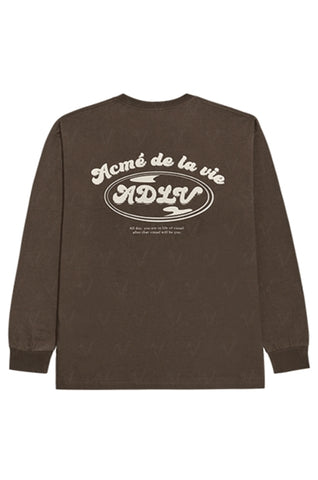 アクメドラビ(acme' de la vie)  TRIPLE LOGO LONG SLEEVE T-SHIRT BROWN