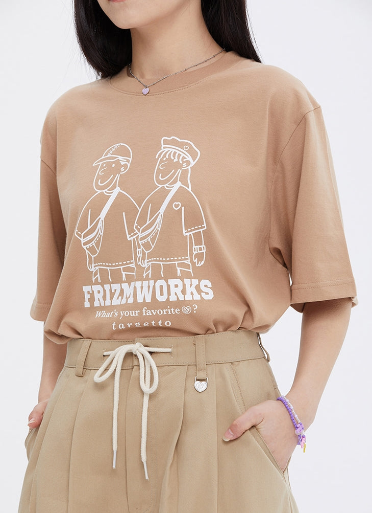 TARGETTO(ターゲット)  [FRIZMWORKS X TGT]COUPLE GRAPHIC TEE SHIRT_BEIGE
