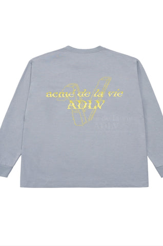 アクメドラビ(acme' de la vie)  FAKE LOGO LONG SLEEVE T-SHIRT LIGHT GREY