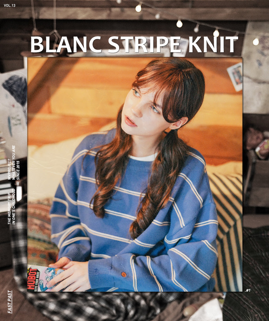 ダブルユーブイプロジェクト(WV PROJECT)BLANC STRIPE KNIT BLUE MJKN7310