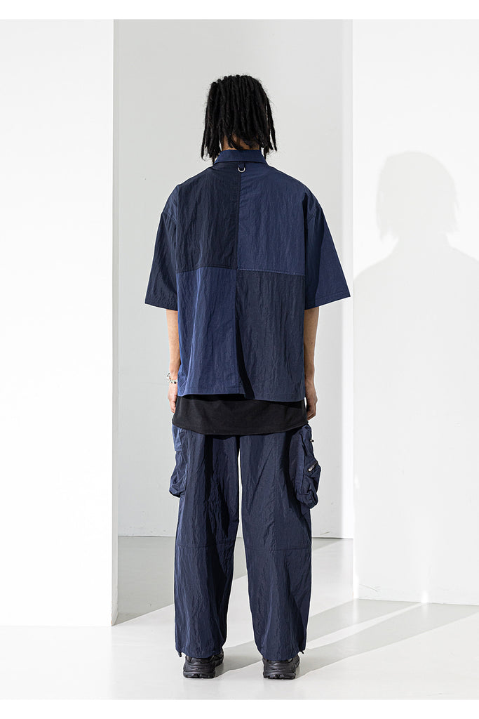 マスノウン(MASSNOUN)  LIPSTACK POCKET OVERSIZED SHORT SHIRTS MUZST003-NV