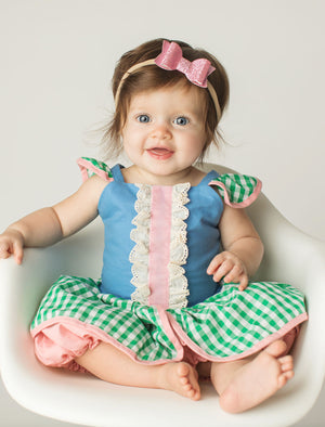 Lady Bug Romper (Green+Blue)