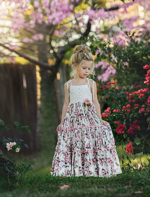 FLORAL WATERFALL FROCK