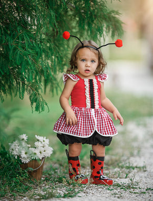 Lady Bug Romper (Black+Red)