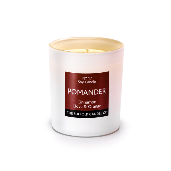 POMANDER - Cinnamon, Clove and Orange - handmade soy candle - 200g - white glass