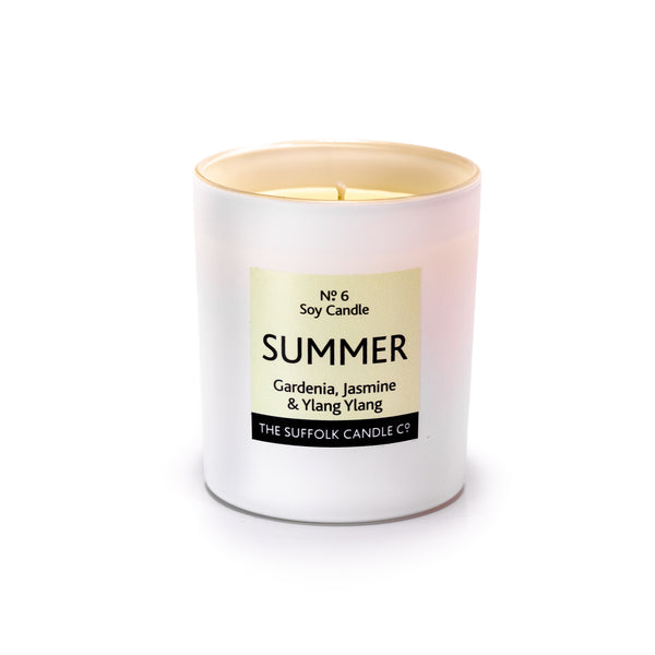 SUMMER - Gardenia, Jasmine and Ylang Ylang - handmade soy candle - 200g - white glass