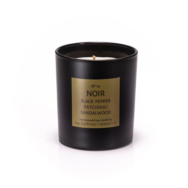 NOIR - Black Pepper, Patchouli and Sandalwood - handmade soy candle - 200g - black glass