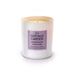 COTTAGE GARDEN - Damask Rose, Hawthorn and Violet - handmade soy candle - 200g - white glass