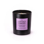 COTTAGE GARDEN - Damask Rose, Hawthorn and Violet - handmade soy candle - 200g - Black glass