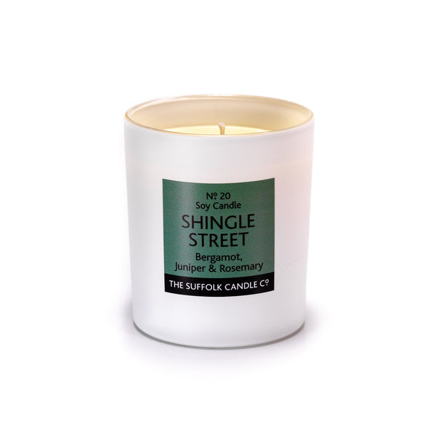 SHINGLE STREET - Bergamot, Juniper and Rosemary - handmade soy candle - 200g - white glass