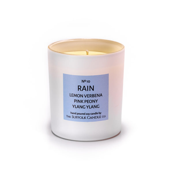 RAIN - Lemon Verbena, Pink Peony and Ylang Ylang - handmade soy candle - 200g - white glass