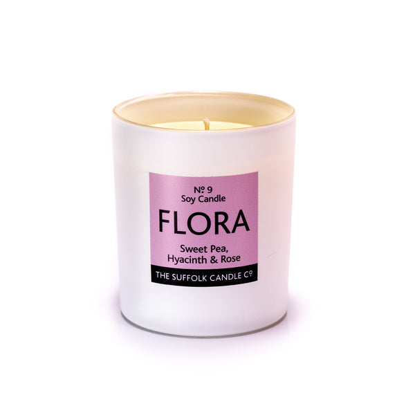 FLORA - Sweet Pea, Hyacinth and Rose - handmade soy candle - 200g - white glass
