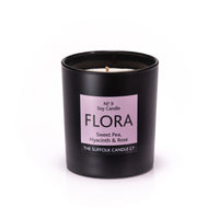 FLORA - Sweet Pea, Hyacinth and Rose - handmade soy candle - 200g - black glass