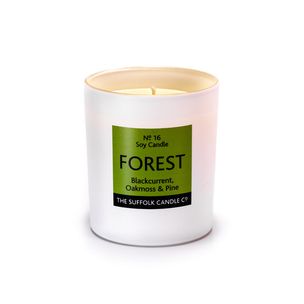 FOREST - Blackcurrant, Oakmoss and Pine - handmade soy candle - 200g - white glass