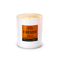 FIRESIDE - Bergamot, Frankincense and Lavender - handmade soy candle - 200g - white glass