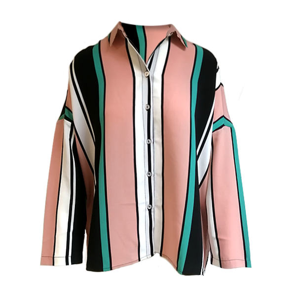 Stripe print overshirt for any body size