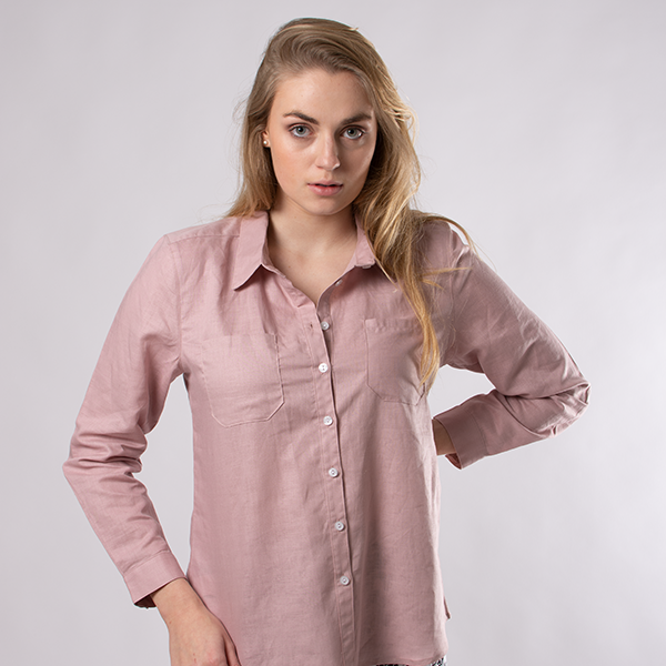 Button down linen shirt with front pockets